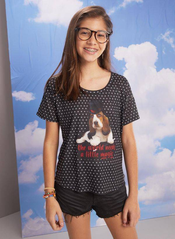 Bisi T-shirt manga curta silk dog cartola