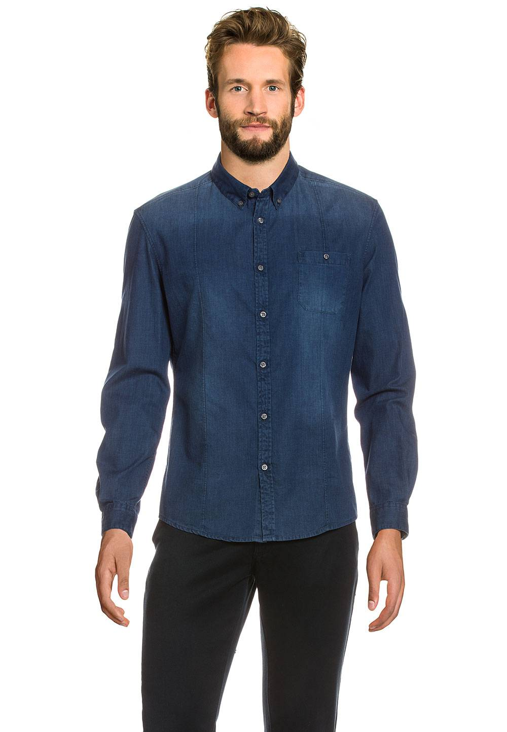 Drykorn Jeanshemd Alex, Langarm, Button-down blau