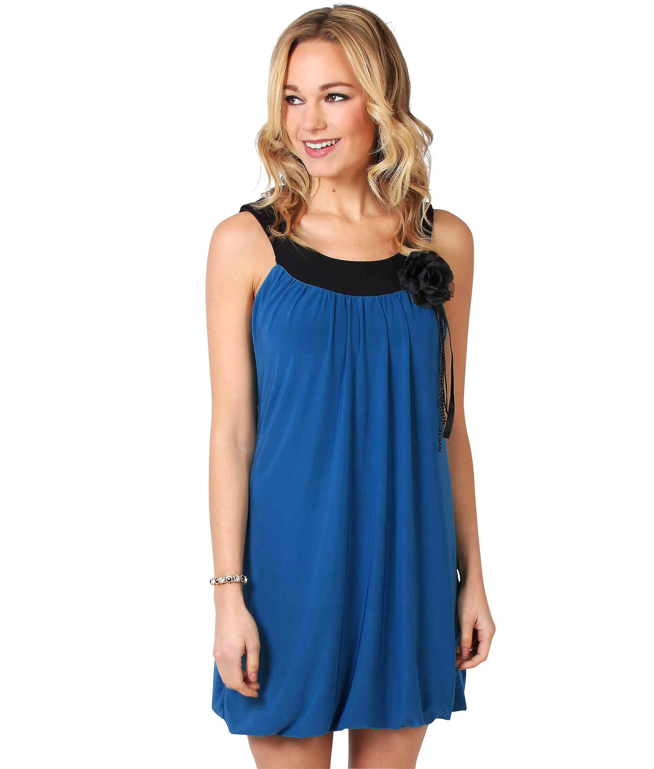 KRISP Womens Boho Puffball Dress Royal Blue 6