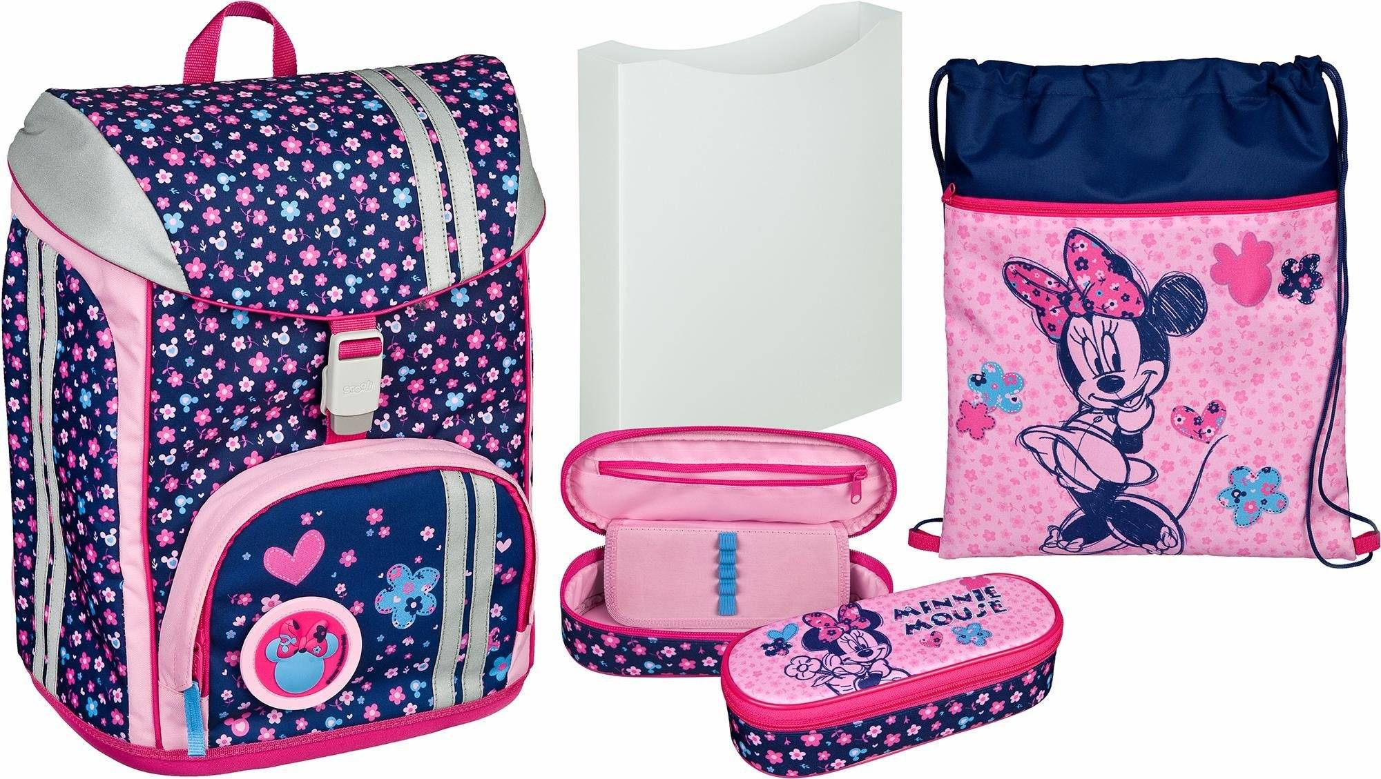 Scooli Schulrucksack Set 5-tlg., »FlexMax Minnie Mouse«, blau/rosa