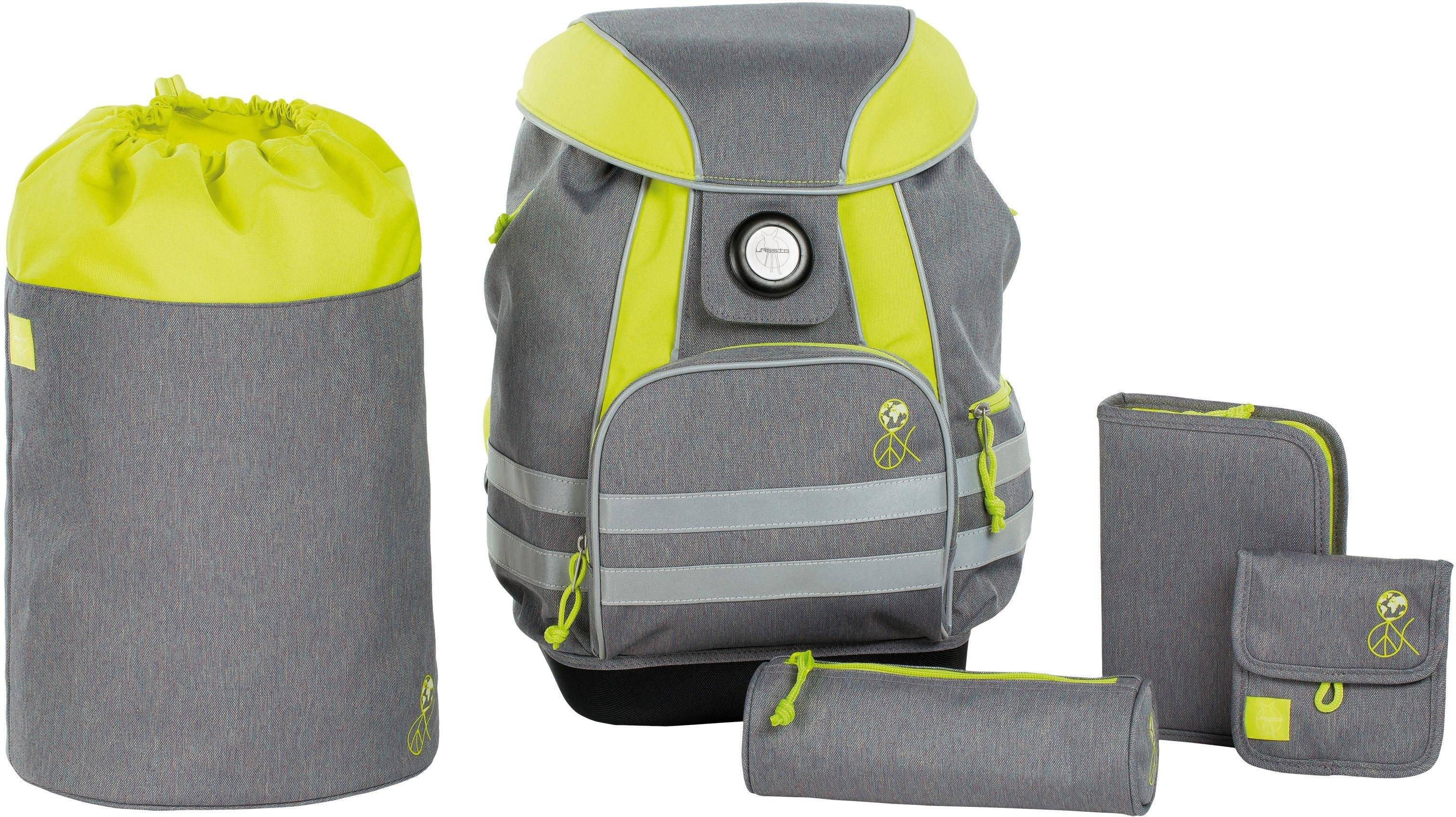 Lässig Schulrucksack Set, 5-tlg., »4Kids School Set, About Friends Mélange Grey«, Mélange Grey