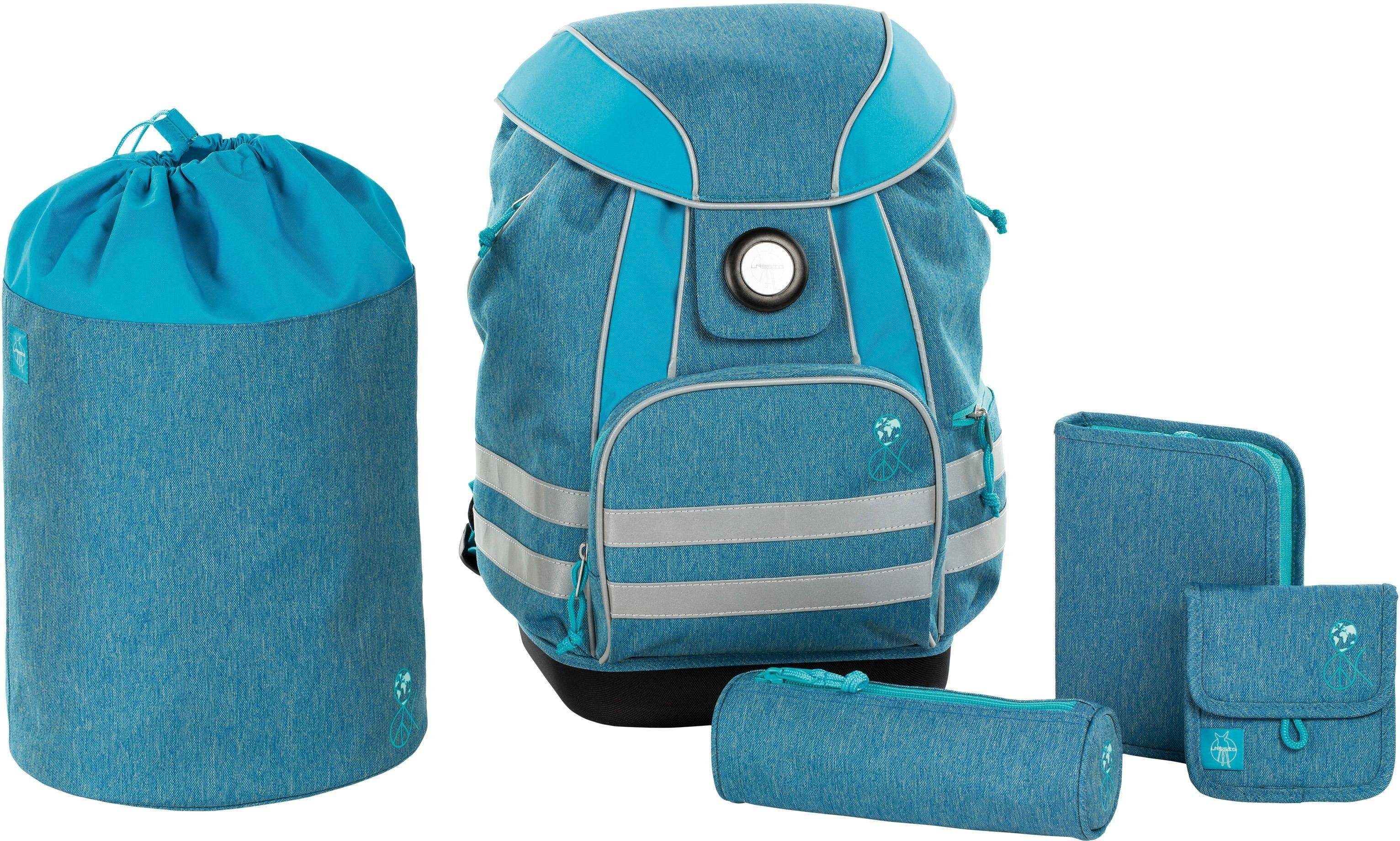 Lässig Schulrucksack Set, 5-tlg., »4Kids School Set, About Friends, Mélange Blue«, Mélange Blue