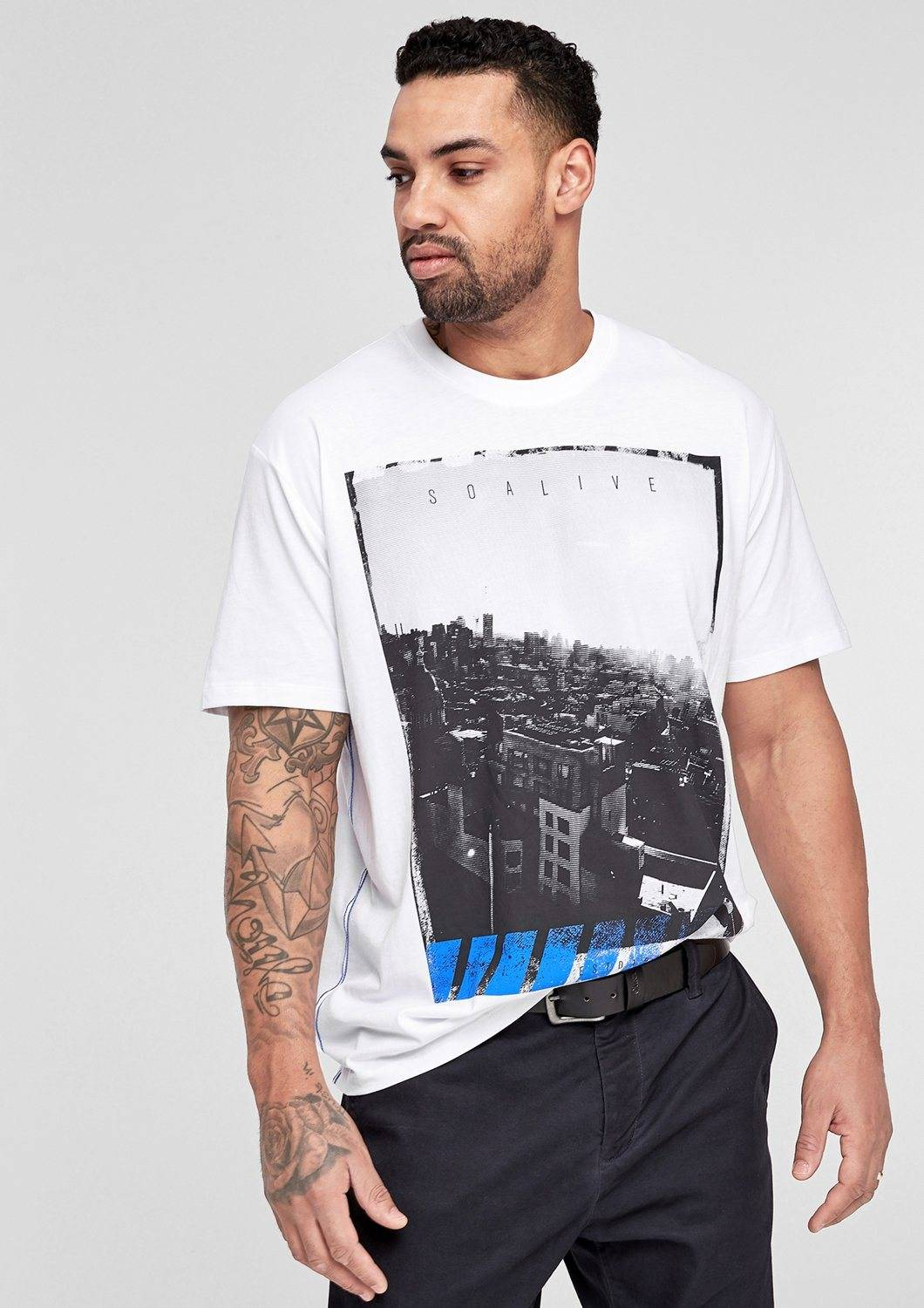 s.Oliver RED LABEL T-Shirt mit Foto-Print, white