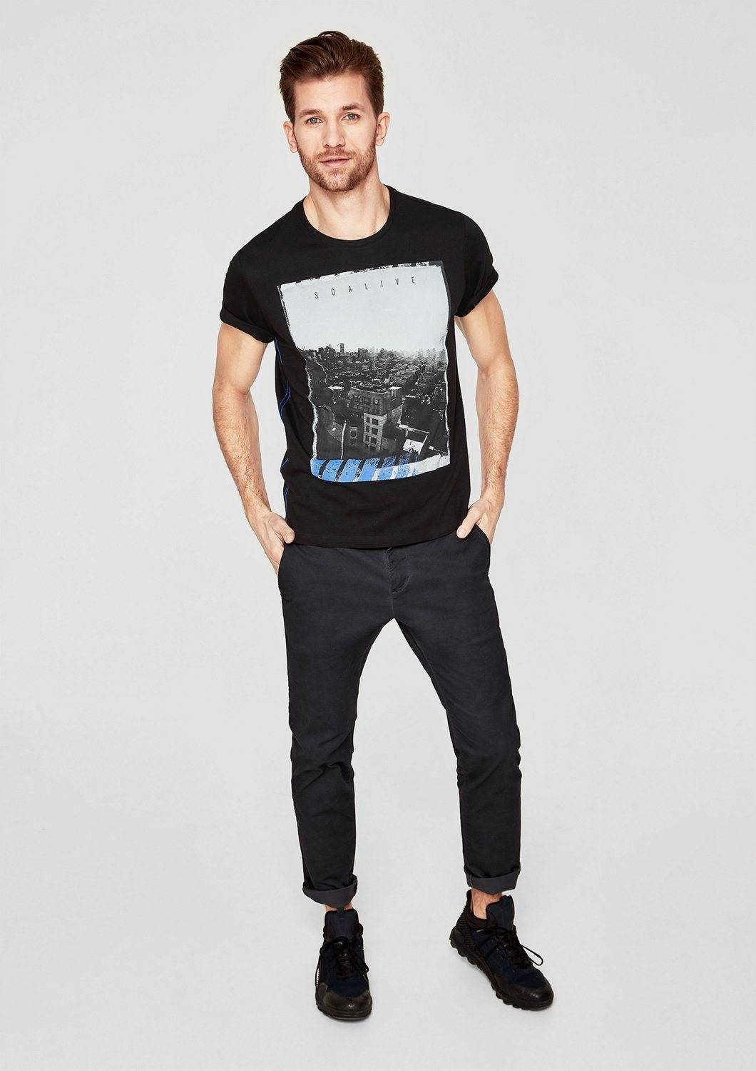 s.Oliver RED LABEL T-Shirt mit Fotoprint, black