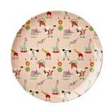 Rice Melamine Lunch Plate Soft Pink Circus Print One Size