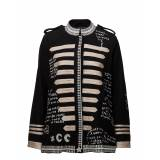 Scotch & Soda Wool Captain'S Jacket With Embroidered Scribbles
