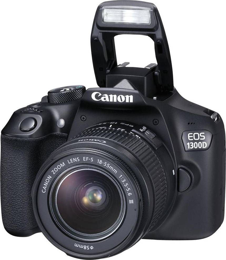 Canon Eos 1300 + 18-55mm Dc Iii Fotocamera Reflex Digitale 18 Mpx Video Full Hd Wifi + Obiettivo 18-55 Mm Dc Iii Colore Nero - Eos 1300 + 18/55 Dc Iii