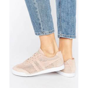 Gola Harrier Blush Pink Perforated Suede Trainers