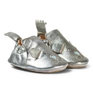 Easy Peasy Pewter Leather Teddy BluBlu Shoes with Anti Slip Sole 18/19 (UK 2-3)
