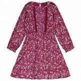 Velveteen Embroidered Dress Berry Print 4 years