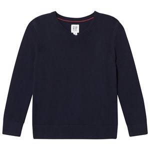 GAP Uniform V-Neck Sweater Navy Base Blue S (6-7 r)