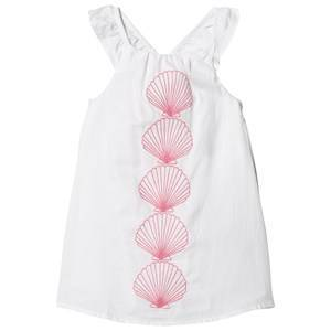 Hatley White Scallop Shell Bow Back Dress 3 years