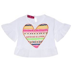 Agatha Ruiz de la Prada White Flow Shirt with Multicolor Heart 8 years