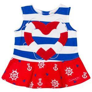 Agatha Ruiz de la Prada Blue Red And White Sailor Print Striped Dress 24 months