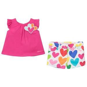 Agatha Ruiz de la Prada Pink Love Heart Tee and Love Hearts Multi Colored Print Shorts 24 months