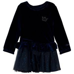 Catimini Midnight Blue Crushed Velvet and Sequinned Tulle Dress 12 months