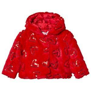 Agatha Ruiz de la Prada Red Faux Fur and Sequin Heart Coat 4 years