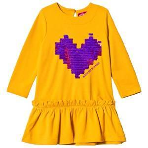 Agatha Ruiz de la Prada Mustard Yellow Purple Pixel Heart Dress 4 years