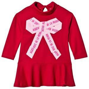 Agatha Ruiz de la Prada Red and Pink Ribbon Print Dress 2 years