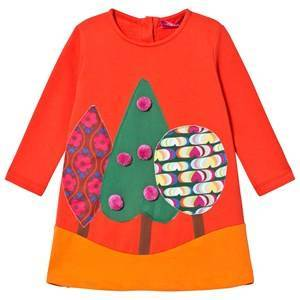 Agatha Ruiz de la Prada Red Fall Forest Pom-Pom Dress 3 years