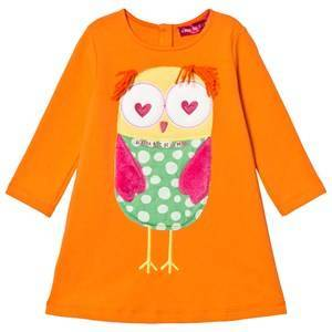 Agatha Ruiz de la Prada Orange Fluffy Owl Applique Dress 2 years
