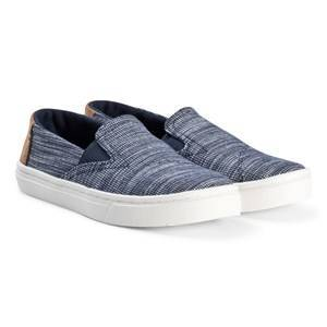 Toms Navy Striped Chambray Luca Youth TOMS Slip-Ons 32.5 (UK 13)