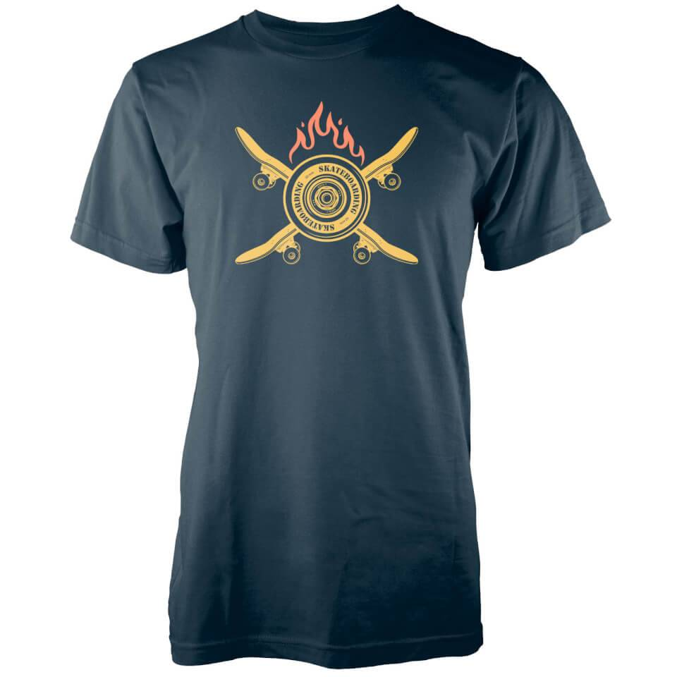 T-Junkie Crossed Flaming Skateboard Navy T-Shirt - L - Navy