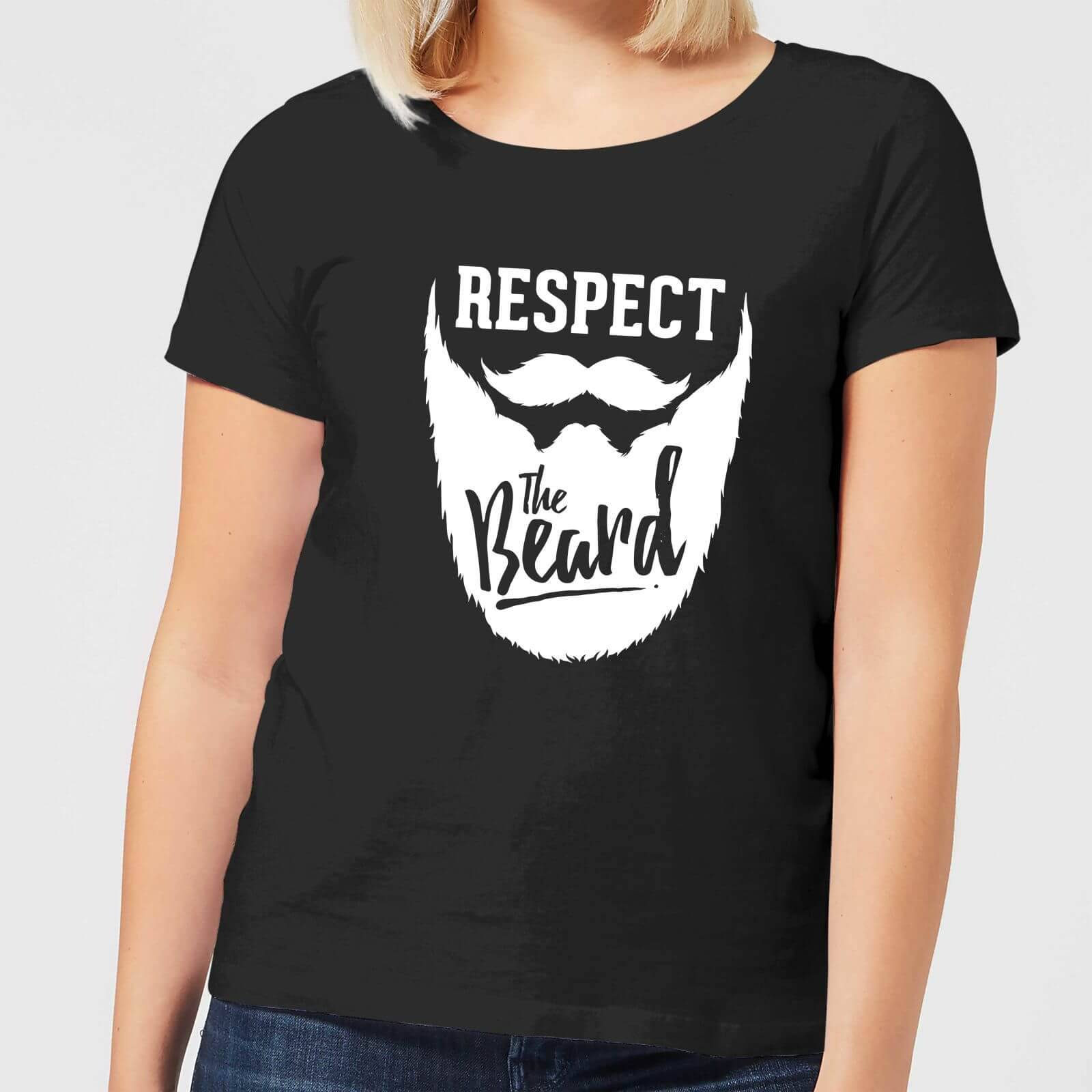 420a221ae Mens Slogan Collection Respect the Beard Women's T-Shirt - Black - XL -  Black