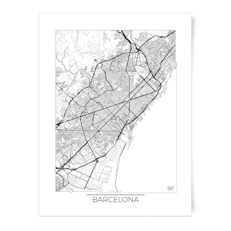 Black And White Outlined Barcelona Map Art Print - A3