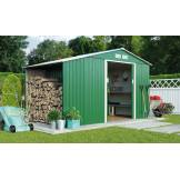 Garden Sheds Groupon Goods Log Store Metal Shed With Foundation Kit   9x6    Dark Green