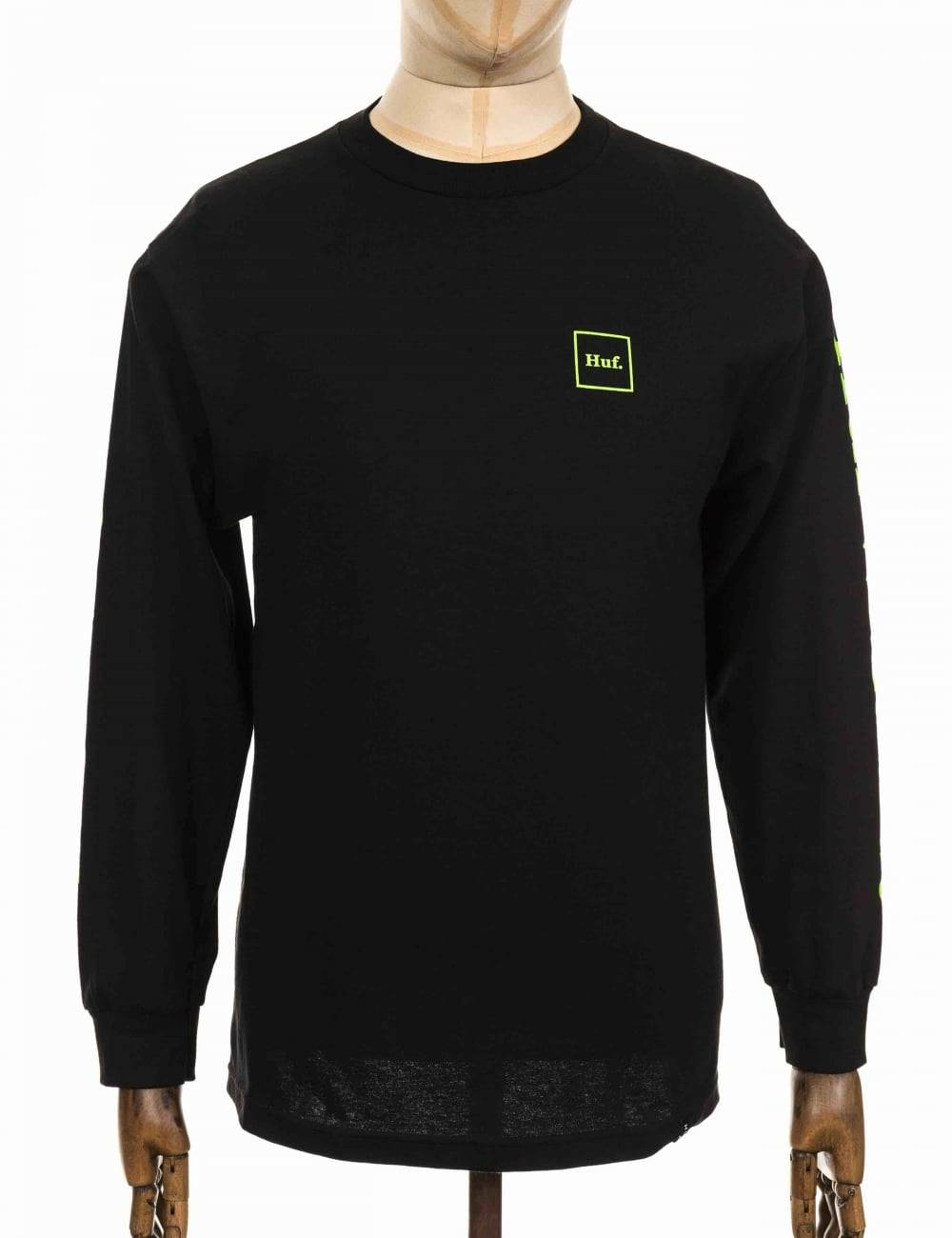 Huf L/S Domestic T-shirt - Black Size: Medium, Colour: Black