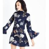Parisian Navy Floral Bell Sleeve Dress New Look (Sizes: UK 12)
