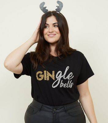 New Look Curves Black Gingle' Bells Christmas T-Shirt (Sizes: UK 22, UK 28, UK 30, UK 18, UK 24, UK 26, UK 32, UK 20)