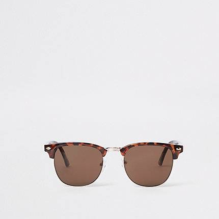 River Island Mens Brown tortoise shell retro sunglasses (One Size)