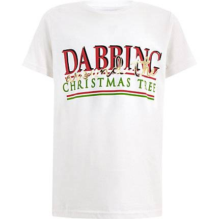 River Island Boys White 'Dabbing' Christmas T-shirt (Size 7 - 8 Years)